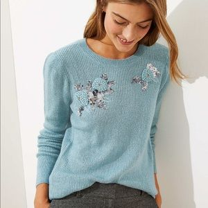 NWT Sequin Flower Sweater by loft